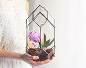 NEW! Large Geometric Tower Terrarium / Handmade Glass Terrarium / Modern Planter for Indoor Gardening / Geometric Orchid Planter