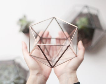 Small Glass Planter, Terrarium Container, Succulent Pot, Copper Planter, Geometric Indoor Planter, Stained Glass Modern Planter, Icosahedron