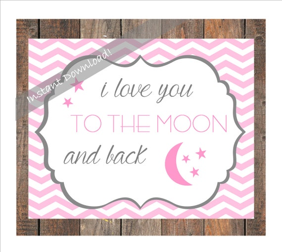 """I Love You Quotes: Items Similar To Printable Art """"I Love You To The Moon And"""