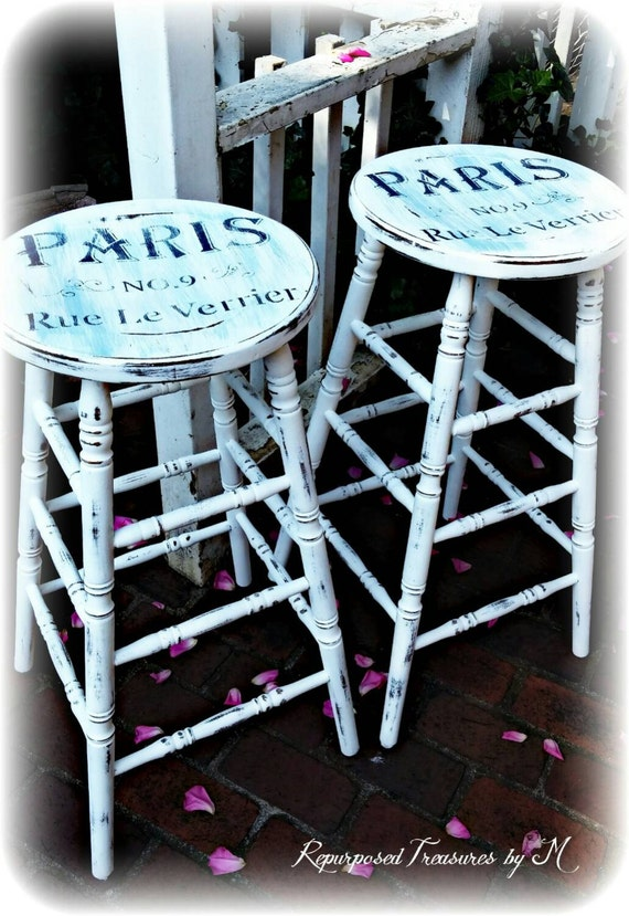 Vintage Shabby Chic Stools French Country Stools White
