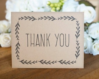 Printable Thank You Card, leaf branch - Instant DOWNLOAD - 4.25 x 5.5 inches folded, editable message inside, PDF