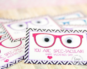 VALENTINE'S Day PRINTABLE, You Are Spec-Tacular, Glasses, Colorful, Happy Valentine's Day, Printable PDF