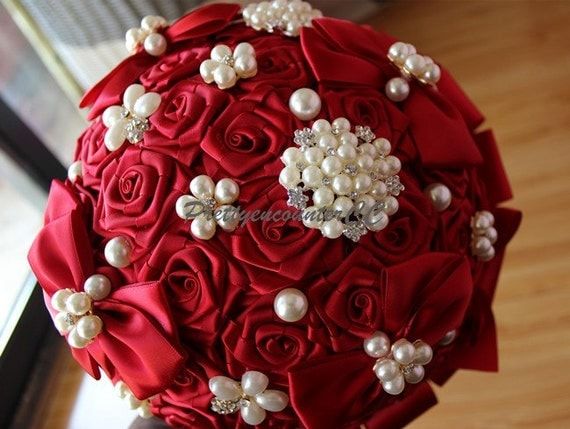 Eccezionale Entusiaste Rose rosse Bouquet da Sposa Bouquet perline pizzo HK33