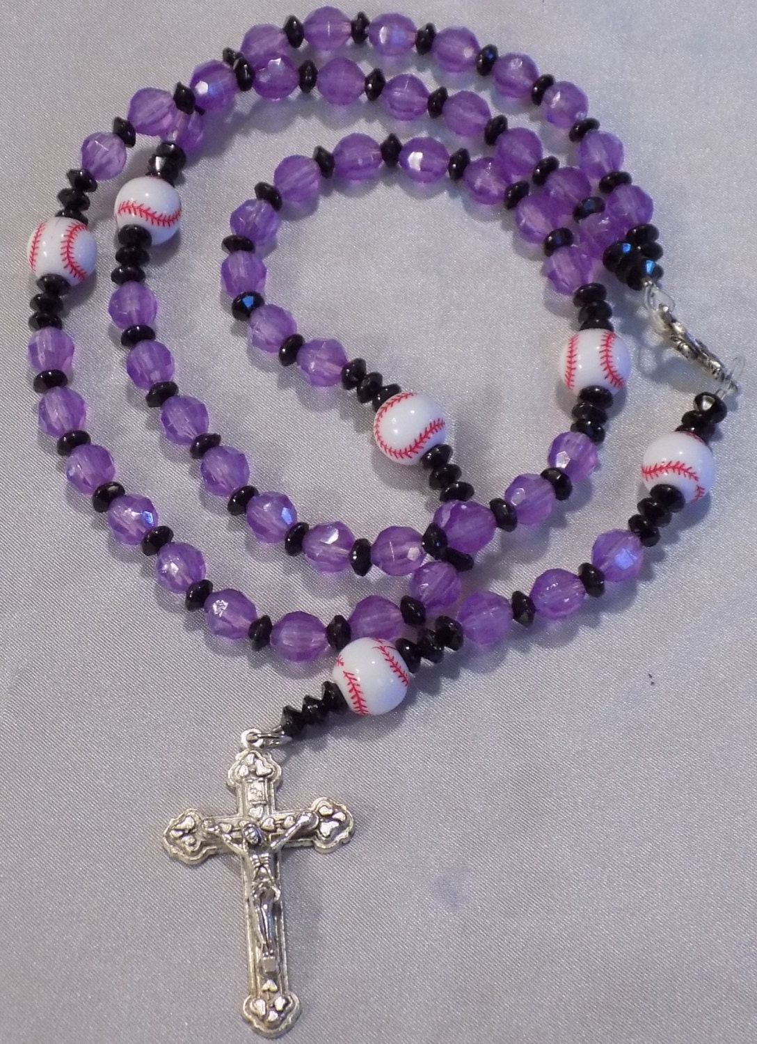 baseball sports rosaries and blue and white