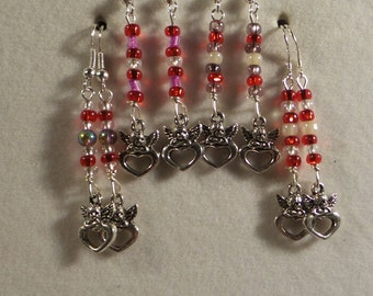 Handbeaded Cupid Heart Earrings