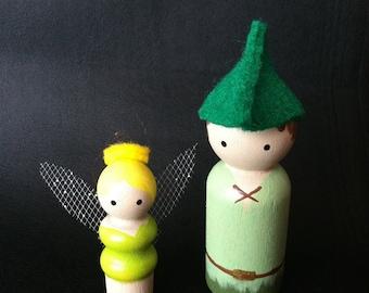 Tink & Peter Pan peg dolls