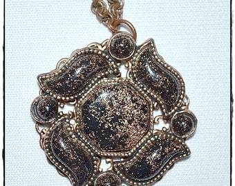 Vintage Large Copper Pendant and Chain With Black and Copper Flake Stones