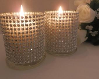 10 Wedding centerpiece, Rinestone glass candle holder, bling centerpiece,  wedding flower vase