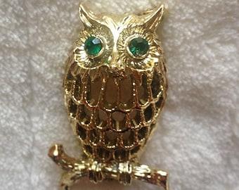Vintage Gerry's Owl Brooch/Pin - Gold Tone & Emerald Rhinestones