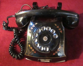 Vintage 1940's Swedish Black Rotary telephone phone