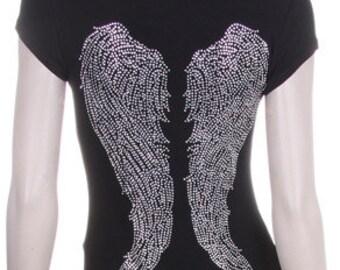 Angel Wings Silver Rhinestone Iron on Shirt