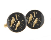 South African Coin Cuff Links Enamelled & Gold Plated with Birds Motif.