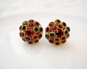 Vintage Rainbow Jewel Tone Round Rhinestone Earrings