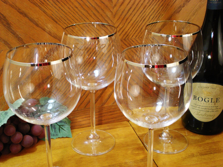 Silver Rimmed Big Red Wine Glasses