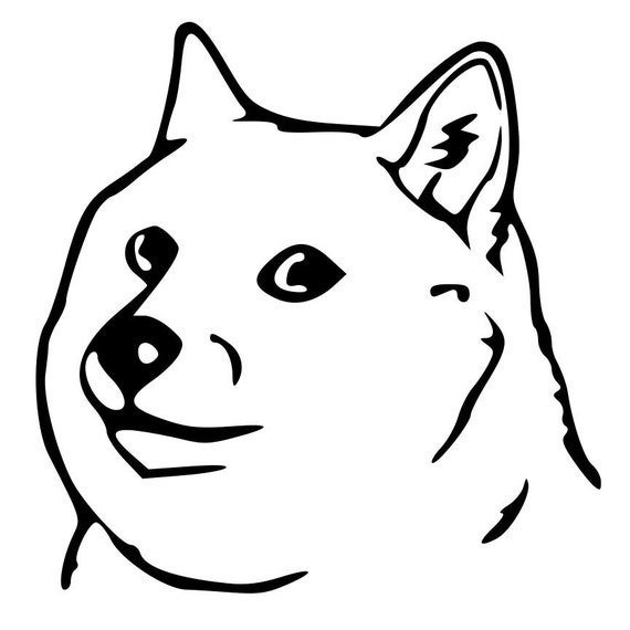 Line Art Meme : Doge die cut decal car window wall bumper phone laptop