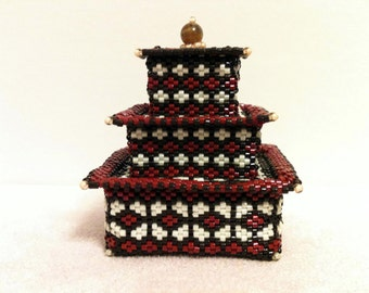 Brown and Brick Red Tiered Box