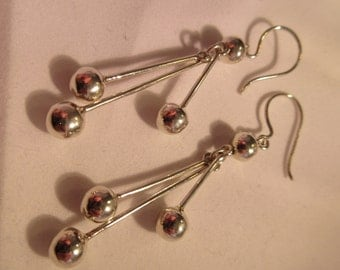 Vintage Sterling Silver Dangling Earrings