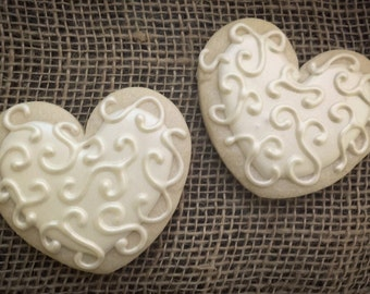 Shabby Chic Heart Sugar Cookies with Scroll