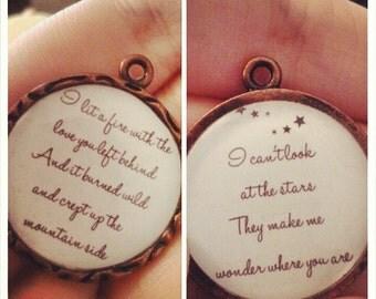 Stars Lyric Double Sided Pendant Keychain or Necklace