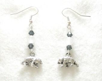 White Earrings, Winter Earrings, Polar Bear Earrings, Bear Earrings, Winter Gift, Holiday Earrings, Arctic Earrings