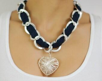 Denim necklace, Valentine's necklace, Heart Necklace, Silver Chain Necklace, jeans necklace, Love necklace, pendant Necklace, charm Necklace