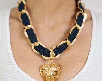 Denim necklace, Valentine's necklace, Heart Necklace, Gold Chain Necklace, jeans necklace, Love necklace, pendant Necklace, charm Necklace