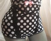 sexy panties high waist mesh polka dots micronet retro style pin-up girl highwaisted polka dots elastic mesh lingerie black white polka dots
