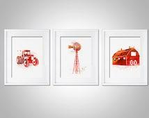 Watercolor Art Print Set of 3 Modern 5x7 8x10 11x14 Wall Art Decor Illustration Nursery Baby Room Shower Gift Farm Red Boy Red Tractor Barn