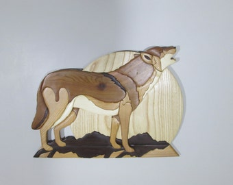 Howling Wolf Wallhanging Wood Intarsia Sculpture Mosiac Wallhanging Wildlife