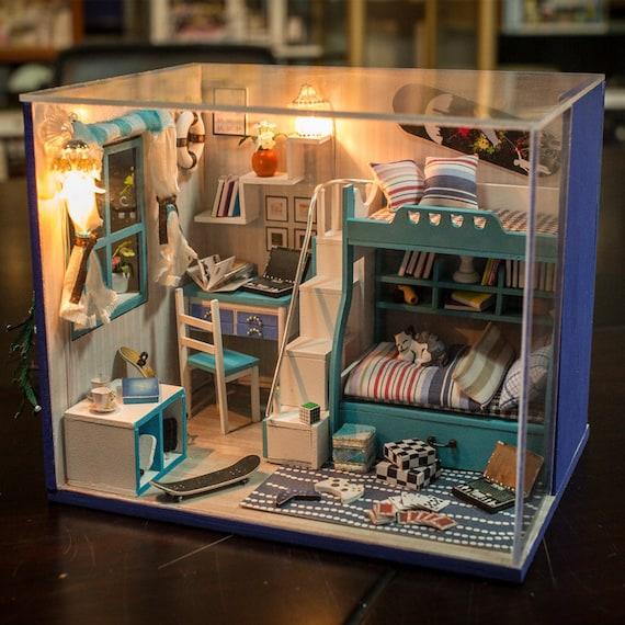 diy miniature sleeping room miniature handcraft kit birthday. Black Bedroom Furniture Sets. Home Design Ideas