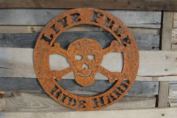 Skull Man Cave Decor : Live free ride hard with skull man cave decor by evyanndesigns