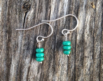 Tiny Turquoise drop, tiny turquoise earrings, silver earrings, turquoise earrings, turquoise jewelry.