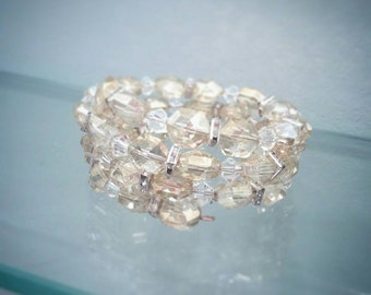 SPARKLE!! - Memory Wire Bracelet - Glass Beads - Hand Made!