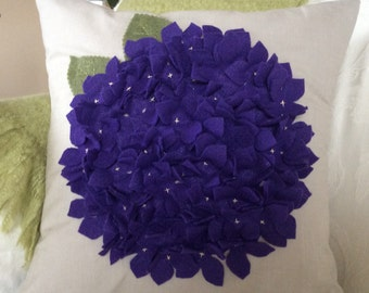 Purple Hydrangea Pillow Cover 16x16, Felt flower Cushion, Big Bold Flower pillow, Flower Wedding Decor, Spring Toss Pillow, Summer Accent