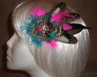 Teal and Pink Pixie Feather Hair Piece