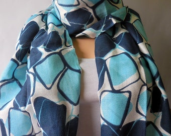 Winter fresh Blue Indian rayon scarves woman scarf. Multicolor scarf. India scarf  Women scarf winter scarf