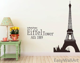 Paris Wall Decal, Effiel Tower Wall Quotes Decal, Vinyl Wall Art of Paris Famous Building Wall Stickers#M6