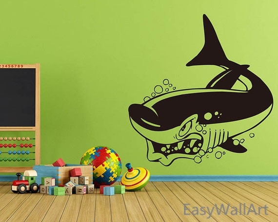 Shark Wall Decal, Cartoon Shark Decal, Vinyl Shark Wall Art Decor Stickers for Nursery, Playroom, Kindergarten & Children's Room #A28