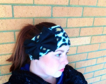 Fleece Leopard Print Womens Ear-Warmer with Bow