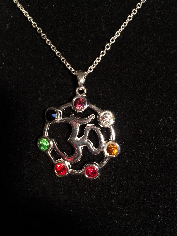 om necklace om pendant 7 chakra pendant ohm necklace