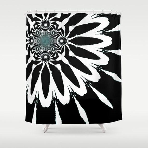 Shower Curtain, Black White Blue Modern Flower Shower Curtain, Black ...
