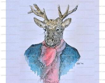 Print pen drawing Mr. Deer