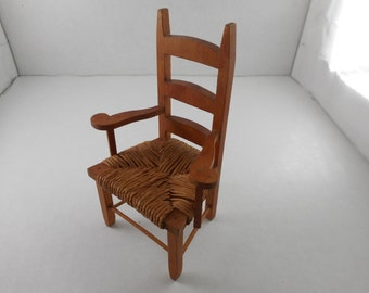 Vintage Dollhouse Furniture....Wood Ladderback Armchair...Dollhouse Collectible...