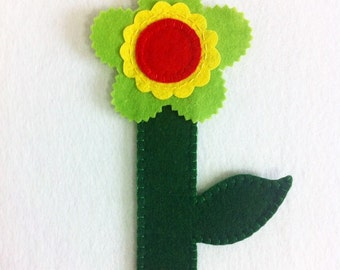 "Felt bookmark ""Flower"". Handmade bookmark. Handmade original gift. Ready to ship. Felt Flower."