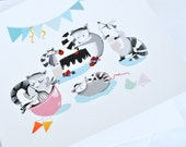 Raccoon birthday party cake postcard// birthday gift// cute birthday card// children's art// birthday party invitations