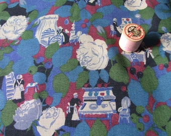Fine wool vintage dressmaking fabric showing dutch ladies, over two metres