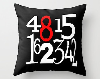 Lost Numbers Pillow Cover, TV Decor, Hurley, Dharma, Television, Pop Culture, White, red, black, Square, dharma initiative, Hugo, 4815162342