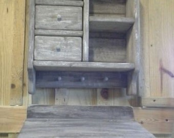 Primitive Country Farmhouse Decor Antiqued Look Aged Wood Drawer Cubby Note Desk