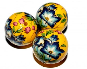 1 pc/16 mm Stunning Japanese TENSHA bead (Yellow with blue flowers)