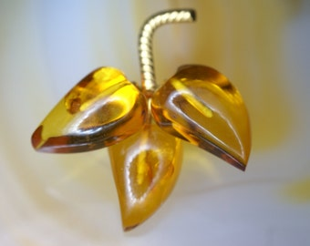 Gold Plated Sterling and Amber Leaf Pin